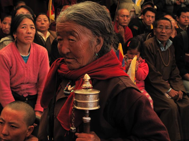 Elderly Tibetan woman at the monastery in Dharamsala.