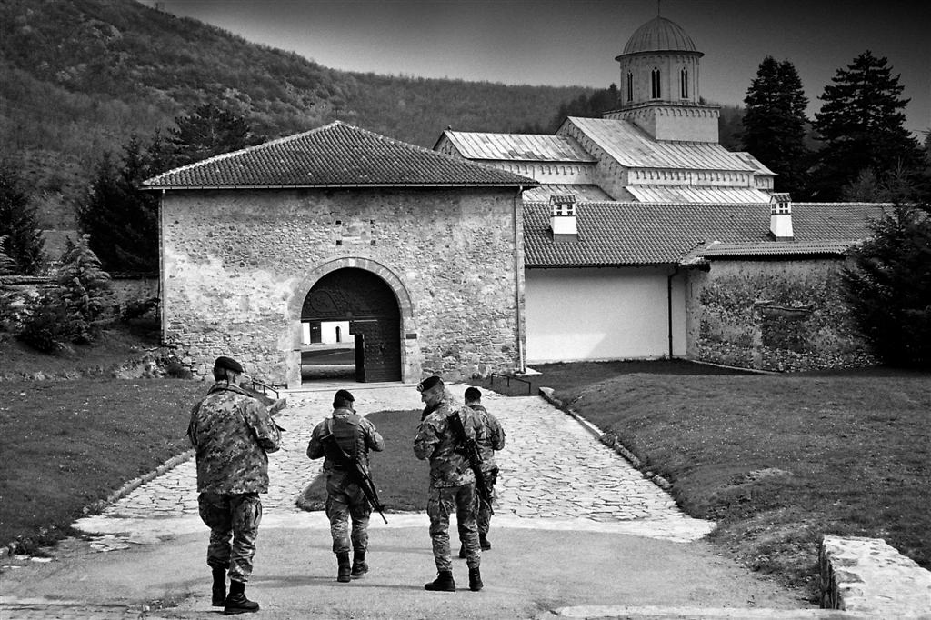 Italian soldiers, the guardians of Decani Monastery