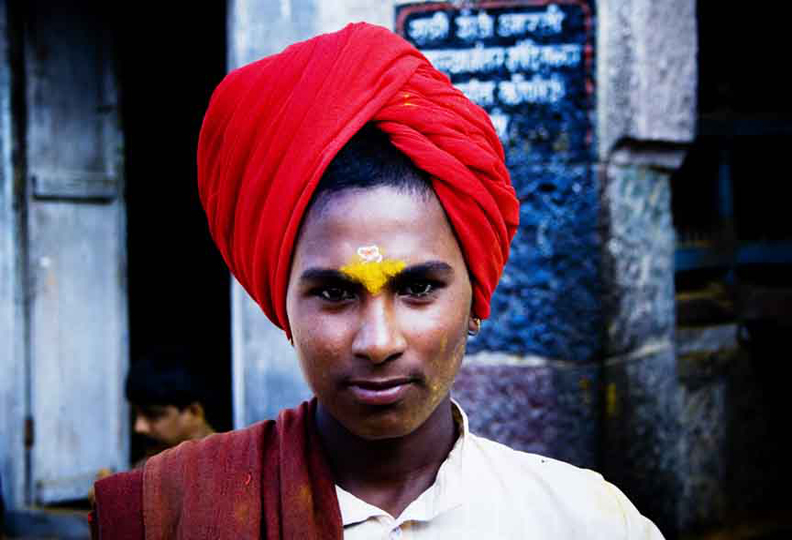 A  Dangar   community Boy during the festival at  Jejuri tample
