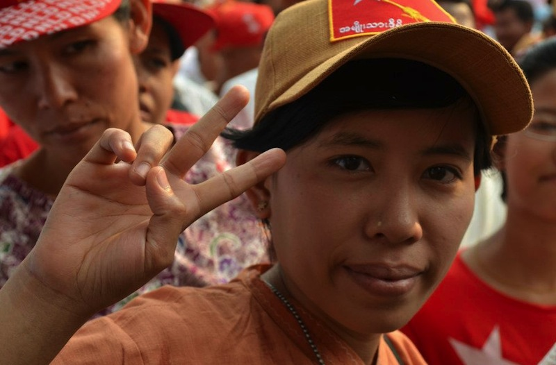 NLD supporter at celebration rally