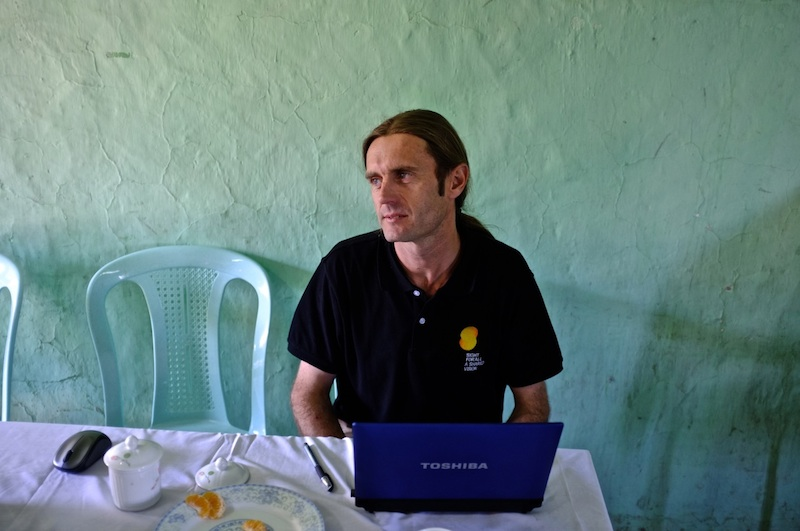 Steve Nygaard collecting data on cataract surgery outcomes at Hakha Eye Centre