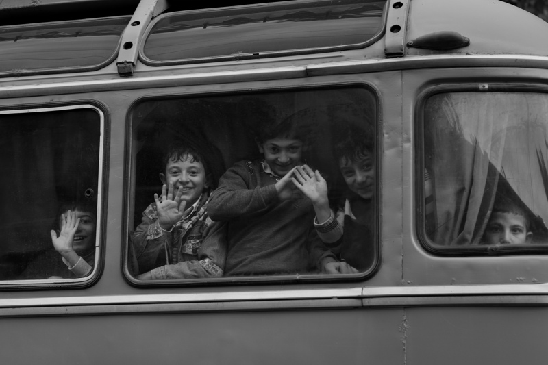 Children on a school bus