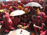 Tibetan Monks during the Dalai Lama teachings