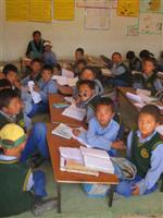 Tibetan school kids in a classroom
