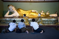 Lying Buddha  in Shwedagon temple