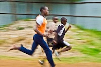 Students run at the education center