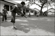 Boys play football at an orphanage in Banda Aceh Indonesia