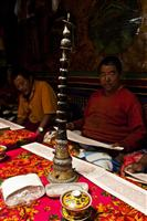 Locals pray in a ceremony inside their house in Upper Mustang