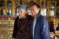 The King Bhista and his son inside their palace in Lo Manthang, Upper Mustang