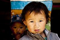 Young kids pose for a picture in one of the primary school in Lo Manthang, Upper Mustang