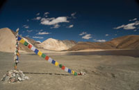 Buddhist prayer flags on the banks of Pangong Tso