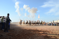 Fantasia Seffrou Morocco - Gunpowder smoke and muzzle blasts as the sorba